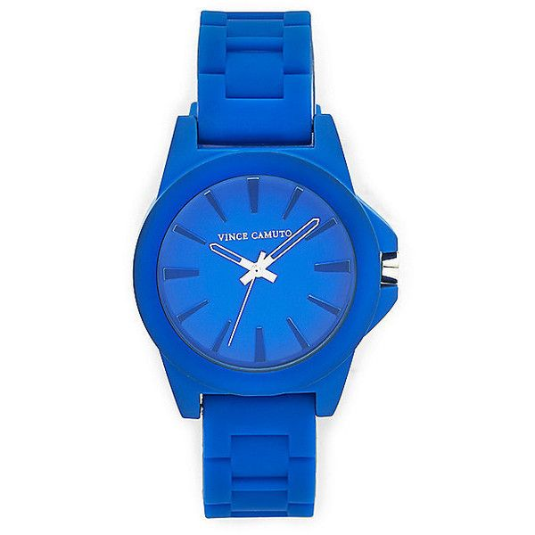 Vince Camuto Cobalt Silicone Strap Watch found on Polyvore featuring jewelry, watches, accessories, blue stainless steel, vince camuto bracelet, buckle watches, blue dial watches, bracelet jewelry and bezel watches