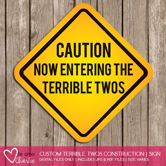 CAUTION: Now Entering the Terrible Twos Construction Sign Add more fun to your Construction party with this custom construction sign. The