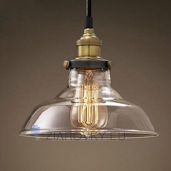Historický závesný sklenený luster v tvare taniera na žiarovky typu E27 je svietidlo určené na stenu v priemyselnom vzhľade. Obsahuje sklenené dekoračné tienidlo, ktoré dodáva celému lustru nádherný historicko-priemyselný vzhľad