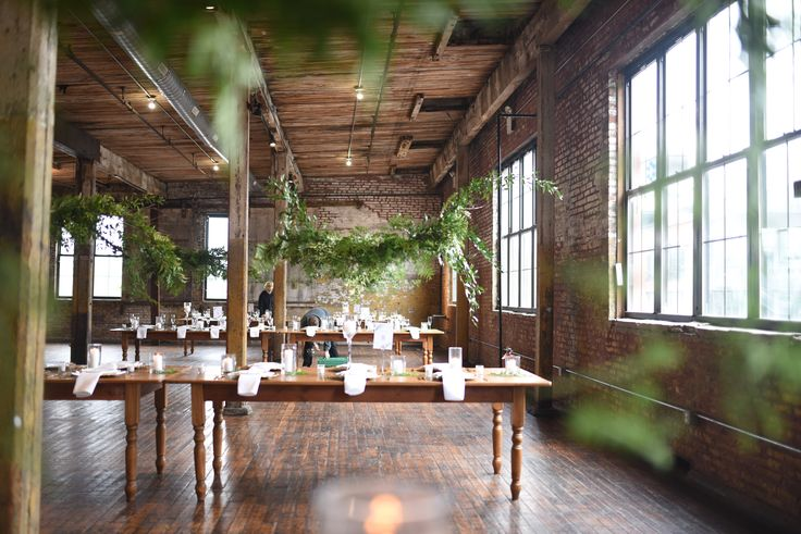 Greenpoint Loft Wedding With Hanging Greenery Installation For