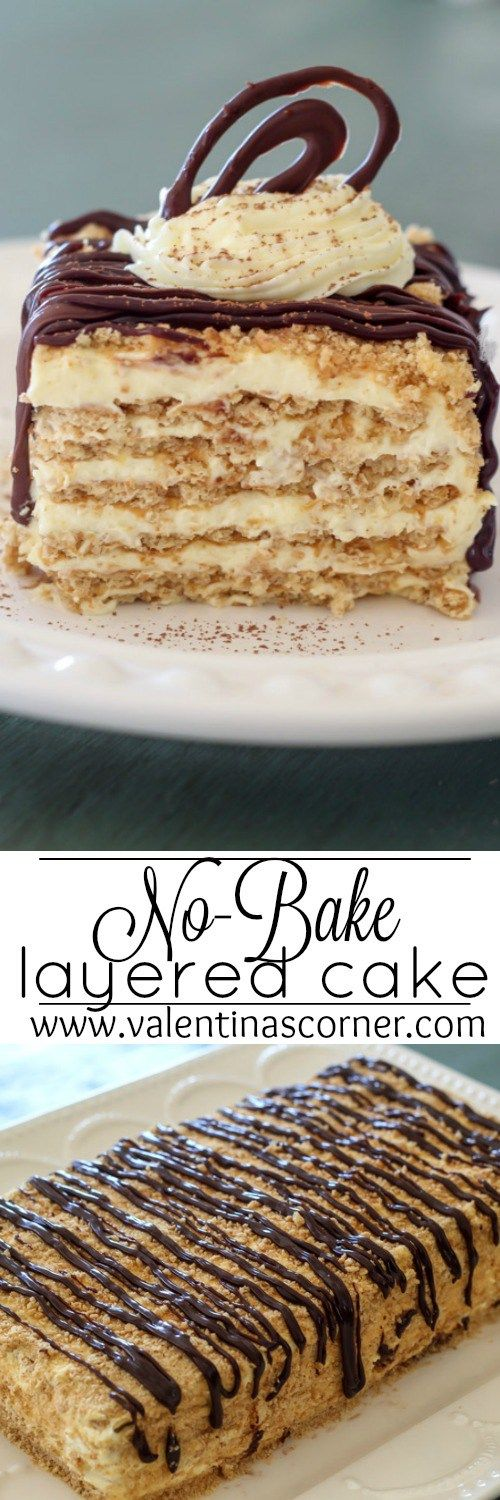 No-Bake Layered Graham Crackers Cake with a Vanilla Pudding cream. ValentinasCorner.com