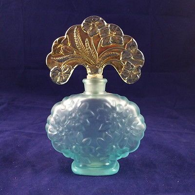 Fenton-Aqua-Glass-Perfume-Bottle-with-Carnival-Glass-Stopper-95th-Anniversary