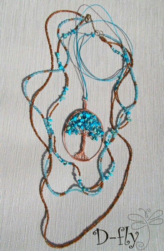 D-fly «Бирюзовое дерево» Ожерелье в комплекте Работа выполнена из следующих материалов: натуральная бирюза, бусины стекло, бисер стекло, медь, хлопковая веревка