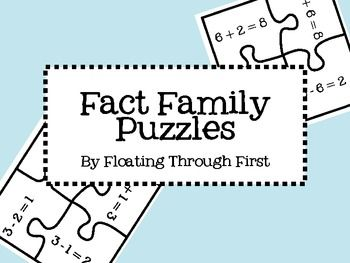 This file includes puzzles for fact families with sums up to 12. There are a total of 30 four-piece puzzles. Each puzzle includes both addition sentences and both subtraction sentences for each fact family.This file also includes pictures that can be printed on the back of each puzzle so that students can check their own work!: