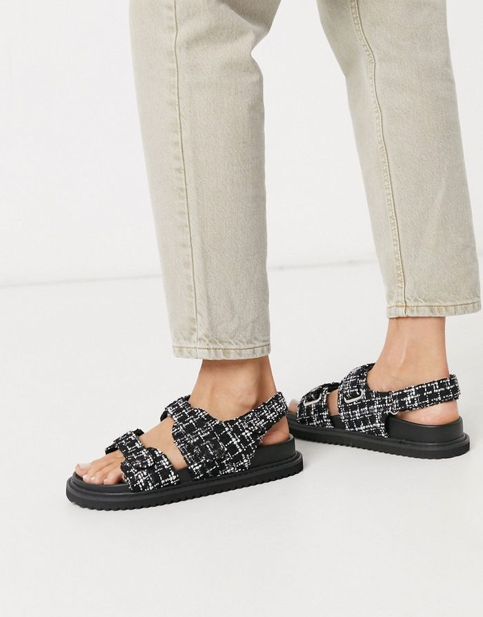 ASOS Faster Sporty Sandals in Tweed in
