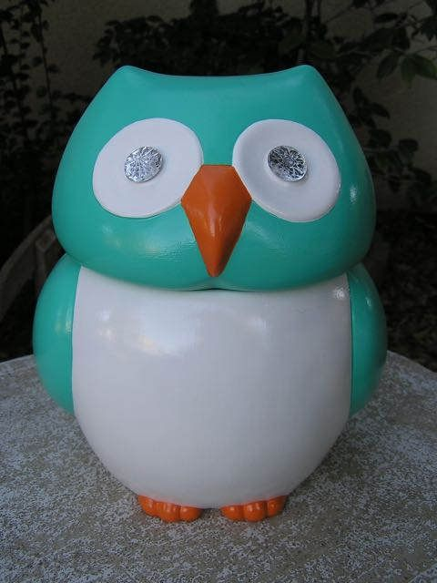 Jeweled Eye Turquoise Owl Cookie Jar by whitedovecrafts on Etsy   Unique kitchen owl cookie jar decor to adore will beautify any spot it is placed in.  Jeweled eyes will sparkle when the light hits them.  He will hold LOT'S of cookies or other delicious goodies.
