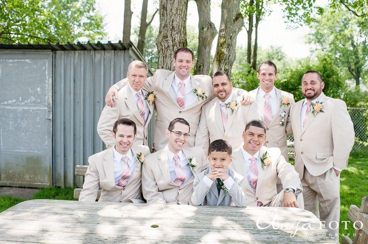 NJ Wedding photographer || AnyaFoto || groomsmen, groomswear, tan suits, pink ties
