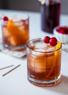 Tart Cherry Old Fashioned is a tart twist on a classic cocktail featuring Montmorency tart cherry juice, bourbon and a few dashes of cherry bitters.