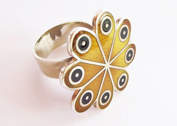 Rare De Passille-Sylvestre flower power enameled ring. .925 silver. 2/3