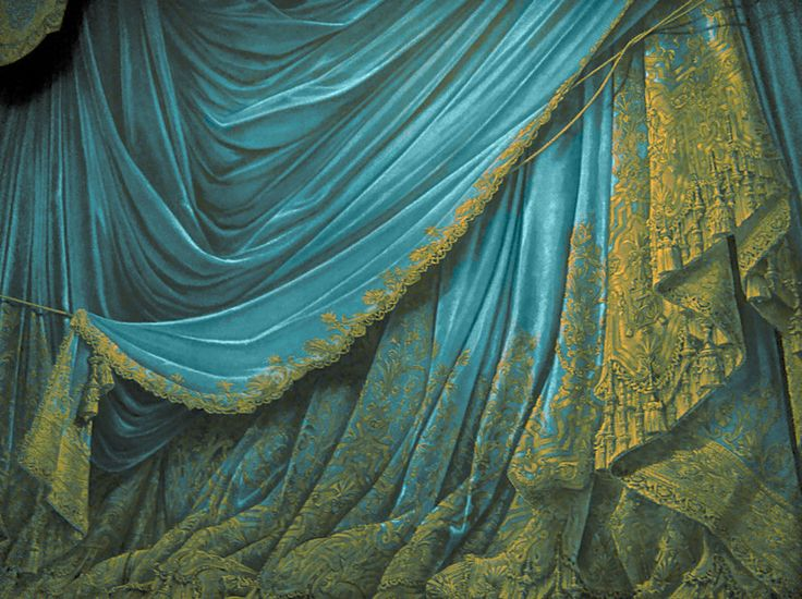 Backdrop Vintage Paper Theater Stage Curtain Aqua By
