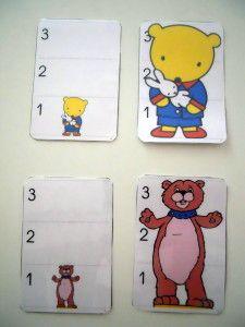 Pour poursuivre le travail sur les tailles, j'ai trouvé sur le site La maternelle de Moustache, des cartes d'ours de trois tailles différentes. Les cartes sont grandes et les tailles bien distinctes : on peut les repérer au travers des chiffres indiqués...