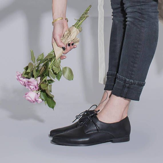 Black Leather Shoes Classic Oxfords