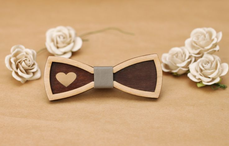 Wooden Bow Tie for women. 3D bow tie with grey leather and heart. Little bow tie for girl and women. by BuffBowTie on Etsy