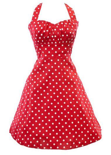Halter Red Sweetheart Neckline A Line Dress