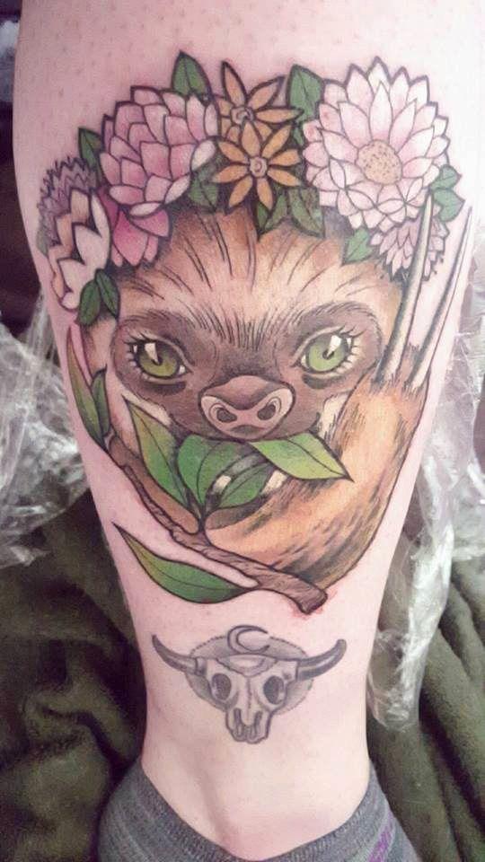 Sloth Tattoo, By Kadee Sprangler at Tribute Tattoo in Waterford MI