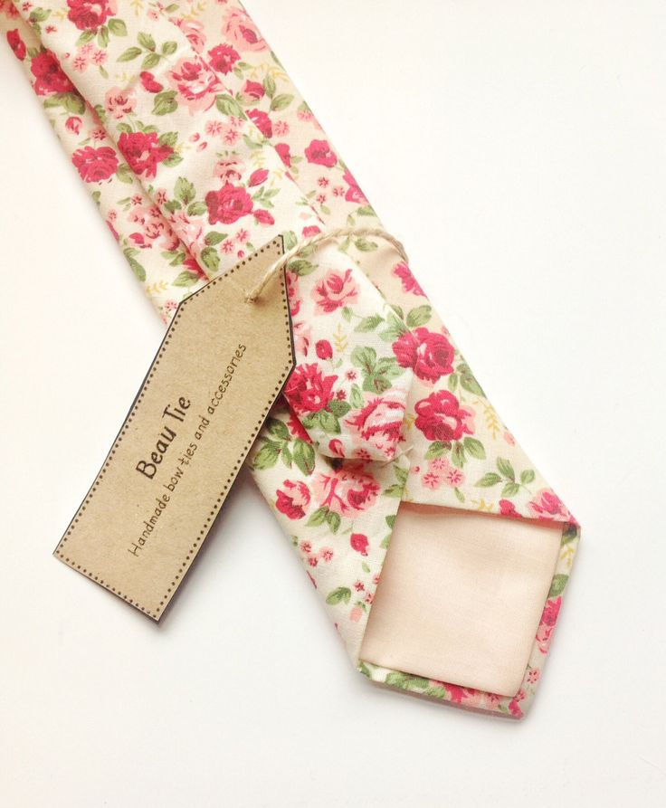 Mens skinny tie pink floral, floral skinny tie, men's floral tie, men's pink tie by BeauTieUK on Etsy