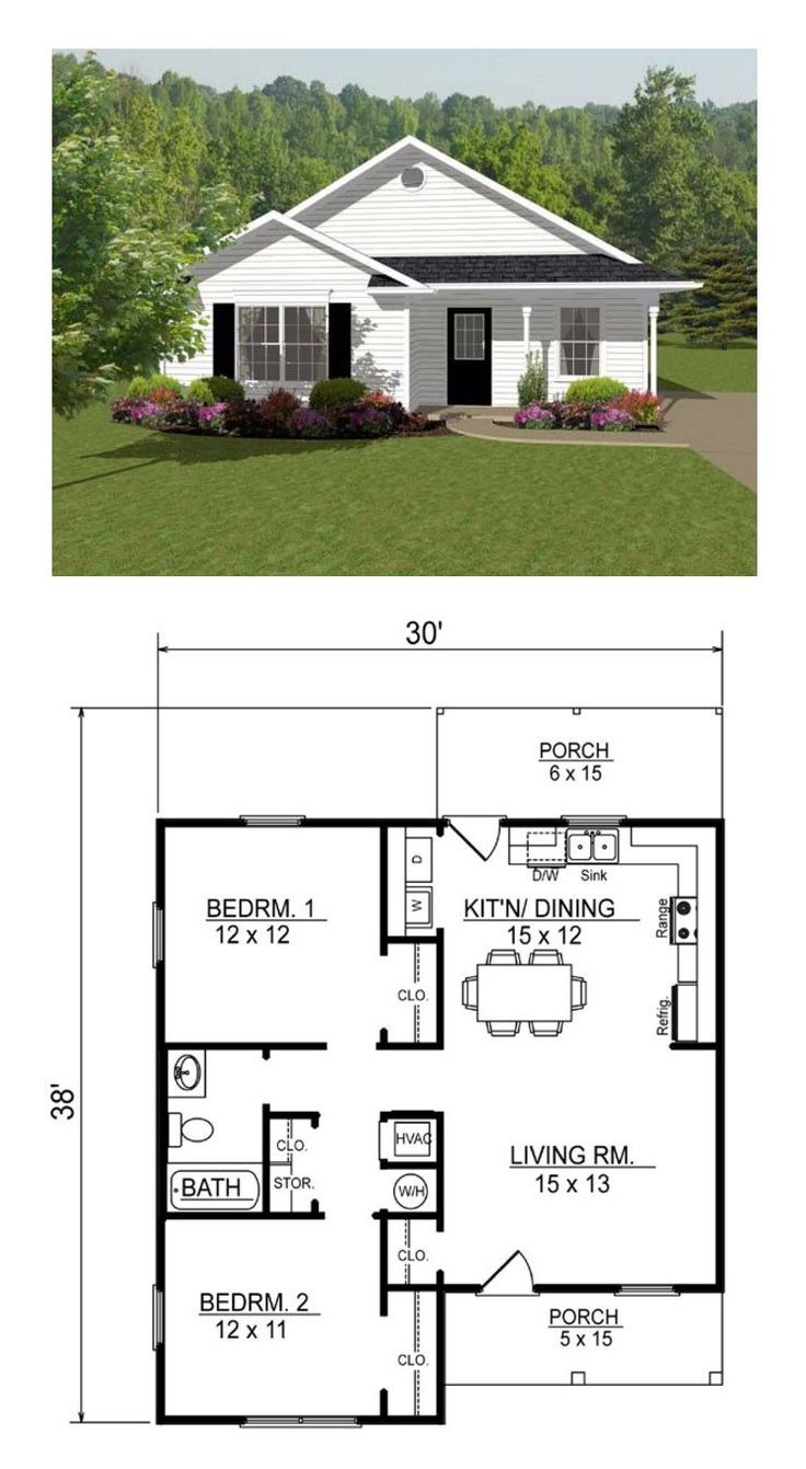 Open Concept Two Bedroom Small House Plan Courtyard House Plans Open Concept House Plans House Layouts