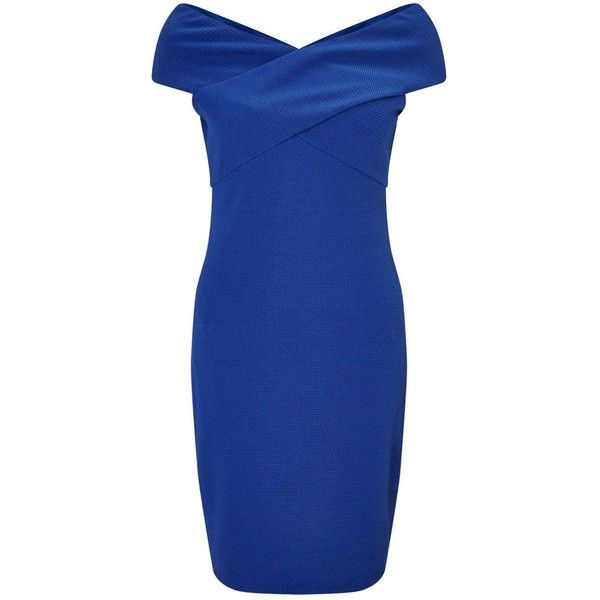 Miss Selfridge Blue Cross Neck Bodycon Dress ($38) ❤ liked on Polyvore featuring dresses, dark green, dark green dress, blue jersey, body con dress, jersey dresses and bodycon dress