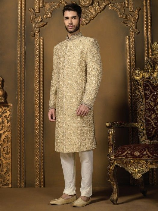G3 exclusive gold and cream silk men wedding sherwani