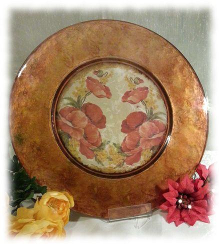Piatto grande in vetro, lavorato con la tecnica delle porporine in sfumature di color rame.