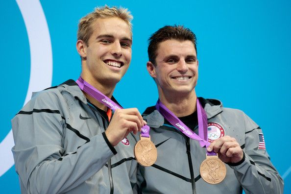 Bronze medallists Kristian Ipsen and Troy Dumais of the United States pose on the podium during the medal ceremony for the Men's Synchronised 3m Springboard final on Day 5 of the London 2012 Olympic Games at the Aquatics Centre on August 1, 2012 in London, England.  (July 31, 2012 - Source: Adam Pretty/Getty Images Europe)