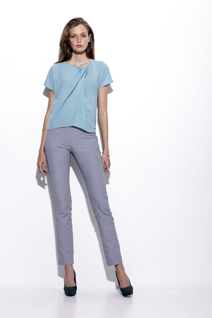 Bogelund-Jensen´s SS15 collection: The Aqua draped t-shirt with grid slim trouser