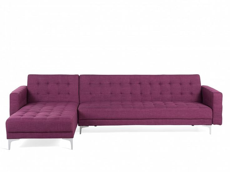 Purple Bed Sofa Corner sofa - Sleeper sofa - Upholstered - Violet - ABERDEEN. Follow Beliani UK for more design inspirations! #sofabed
