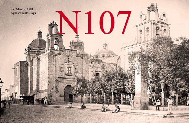 Templo de San Diego, Aguascalientes as it appeared in 1884. The original window on the facade of the Chapel of the Third Order is visible. The current stained glass window was not put in until 1896.