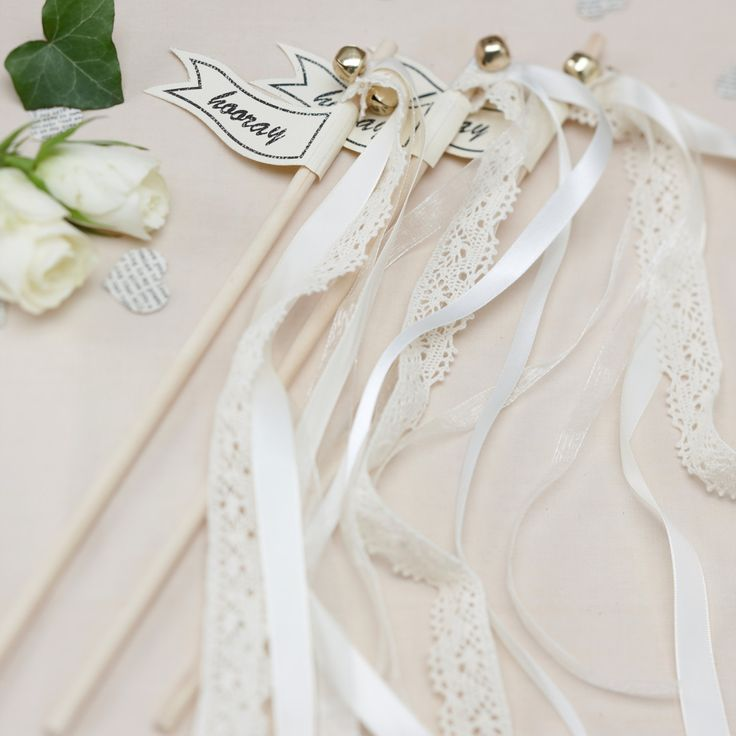 Vintage Woven And Lace Hooray Wedding Wands Send Off Streamers Ribbon With Gold Bells Pack Of 10
