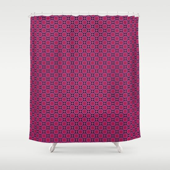 Medallion Pattern Magenta Shower Curtain by Terrella.  Customize your bathroom decor with unique shower curtains designed by artists around the world. Made from 100% polyester our designer shower curtains are printed in the USA and feature a 12 button-hole top for simple hanging. The easy care material allows for machine wash and dry maintenance. Curtain rod, shower curtain liner and hooks not included. Dimensions are 71in. by 74in.