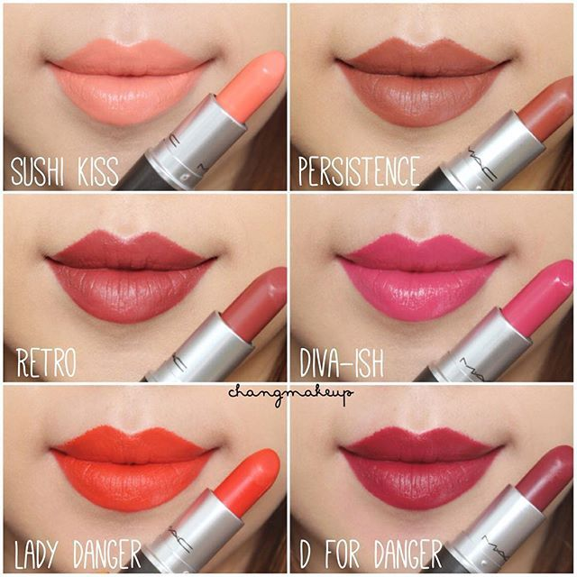 MAC Lipsticks swatches MAC Cosmetics