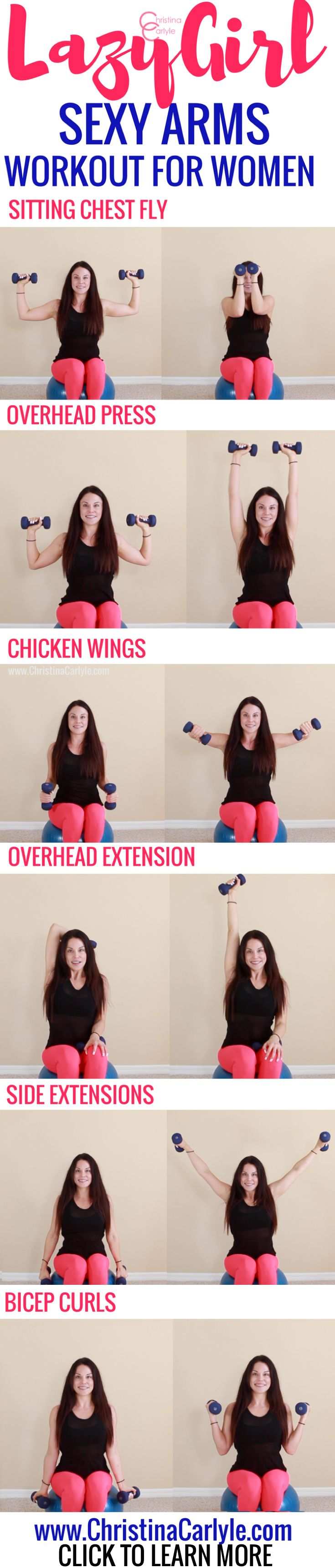 This lazy girl workout is perfect for days when you know you need to workout but just don't feel like it.  You can easily do these sitting down but they're really effective exercises for the arms.  So you can be lazy and still work on toning your arms at