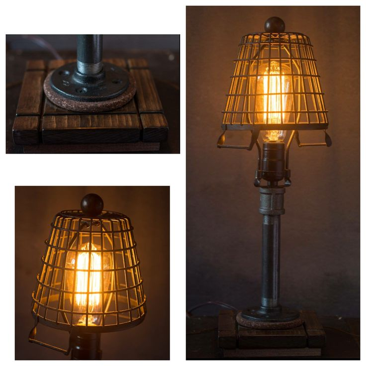 Galvanized Basket Table Lamp