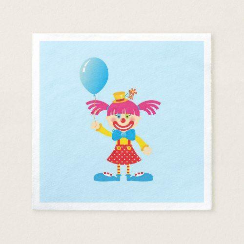 Colorful Girl Circus Clown Birthday Custom Napkins