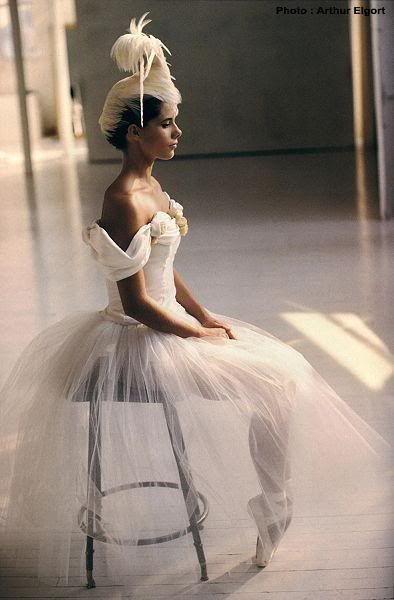 Beautiful ballerina in white