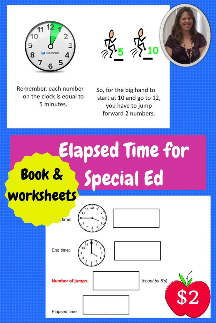 Worksheets For Special Ed : Elapsed time booklet and worksheets for special