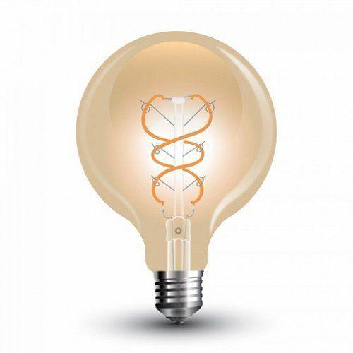 LED lámpa , égő , izzószálas hatás , gömb , E27 foglalat , G125 , 5 Watt , meleg fehér , arany üveg , vintage