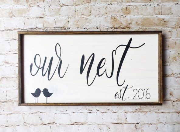 'Our Nest' sign is the perfect wedding gift! Get one for yourself as well.