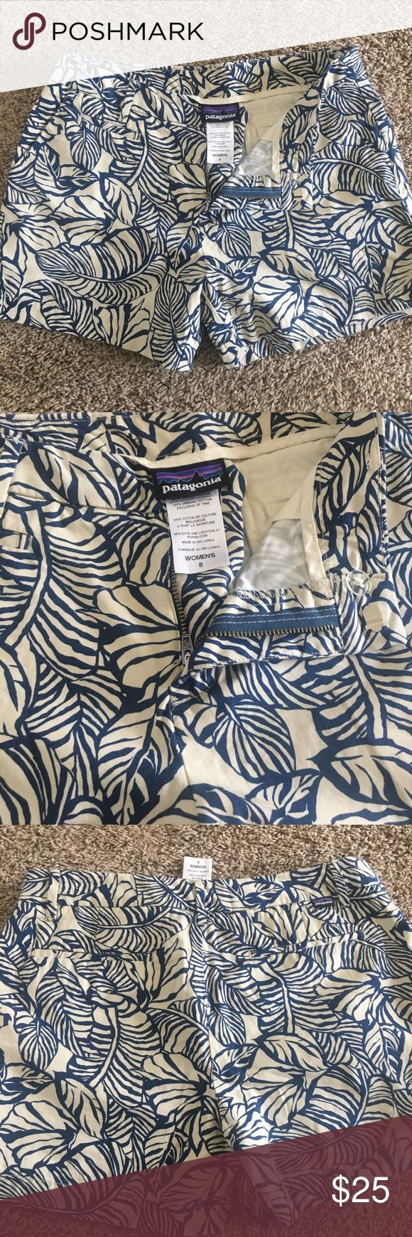 Patagonia shorts Women's floral print shorts, blue with cream/light tan colors. These are like new condition without any flaws. Size 8, I would say that these type shorts run a bit small. Patagonia Shorts