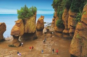 The Bay of Fundy. This place is known for it's high tides on the Atlantic coast, between Nova Scotia and New Brunswick. I live on the NS side...70ft tides!