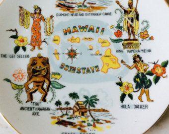 Vintage Ceramic Hawaii Souvenir Decorative Plate, 50th State, Hawaiian Islands, Tiki Decor, Tropical Decor, Beach, Cottage, Wall Decor - Edit Listing - Etsy