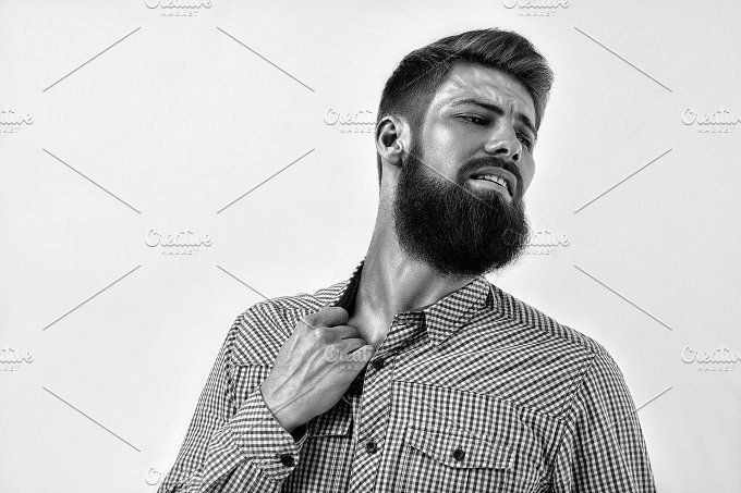 Emotional bearded man portrait by Usmanov Stock Photography on @creativemarket