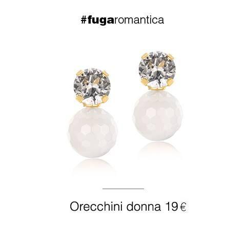 Orecchini in metallo con bagno in oro giallo, cristalli bianchi e agata bianca Luca Barra Gioielli. #jewels #fashionstyle #orecchinidonna #newcollection #lucabarra