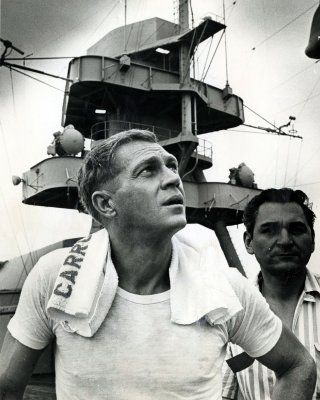 """Steve McQueen ...on the set  of """" The Sand Pebbles """" as Jake Holman...1966...great novel  &  movie."""