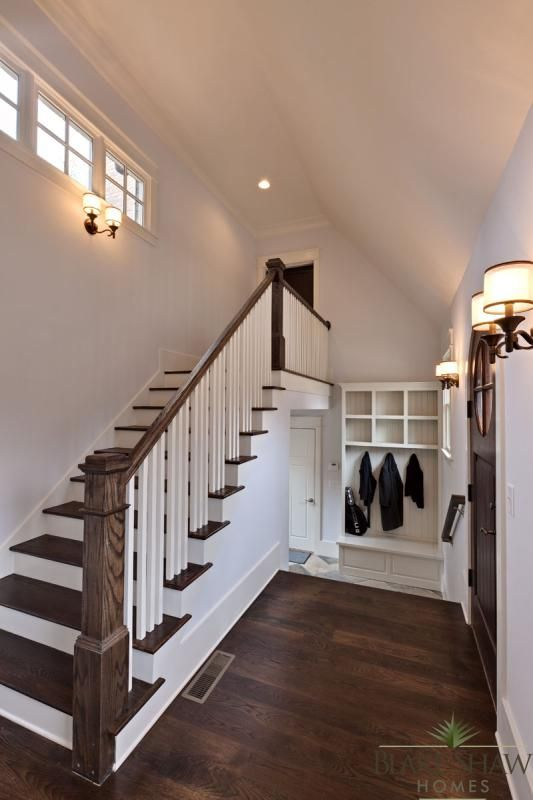 side entry hall with stairs to the inlaw suite over the garage - Room Over Garage Design Ideas