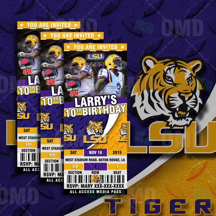 2.5x6 LSU Tigers Sports Party Invitation, Sports Tickets Invites, Louisiana State Football Birthday Theme Party Template by sportsinvites