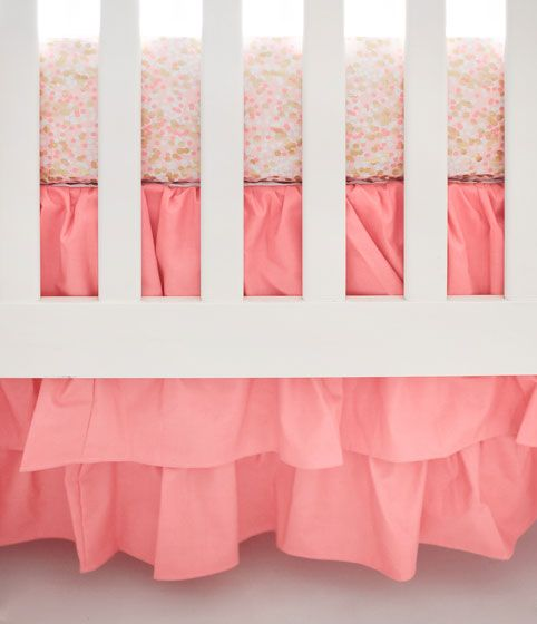 Coral Crib Rail Cover Set | Coral & Gold Baby Bedding | Baby Girl Nursery
