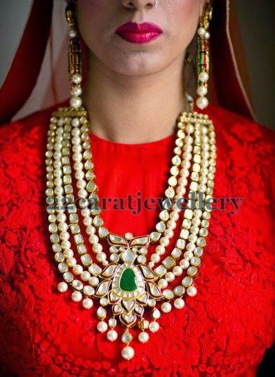 Jewellery Designs: Polki Bridal Haar with Pearls