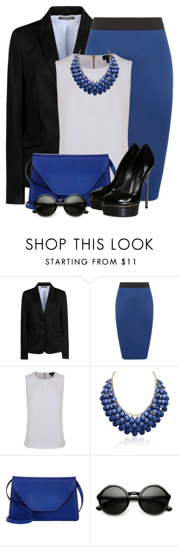 """""""Royal Blue Pencil Skirt"""" by brendariley-1 ❤ liked on Polyvore featuring ESPRIT, WearAll, Armani Jeans, Valextra and Casadei"""