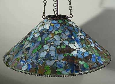 "The 28"" Clematis Cone Tiffany hanging lamp shade"